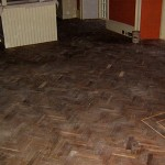 Before: Reclaimed Herringbone floor