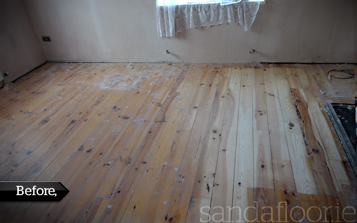 Pine Floor Sanding (Living Room) Foxrock, Dublin - BEFORE